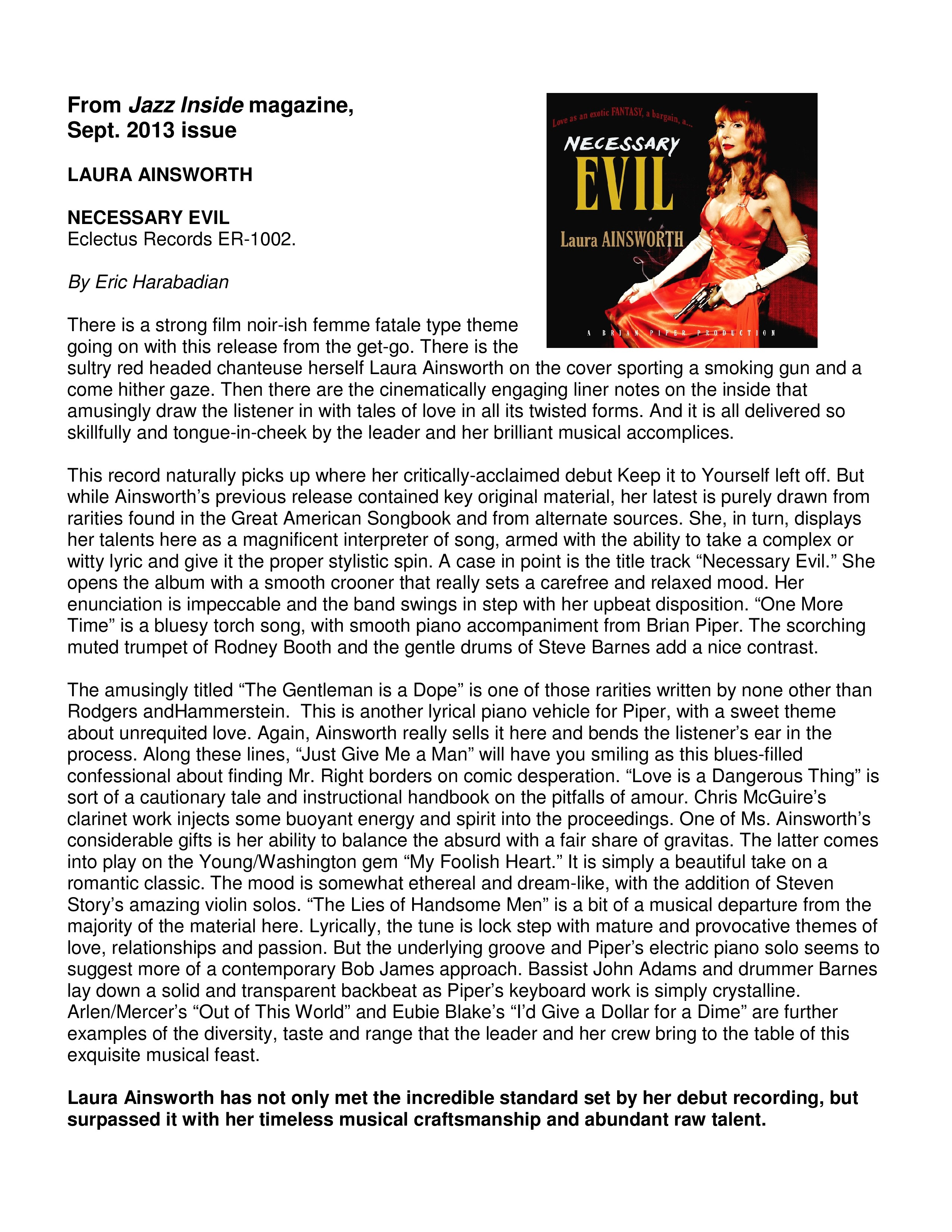 "Jazz Inside review of ""Necessary